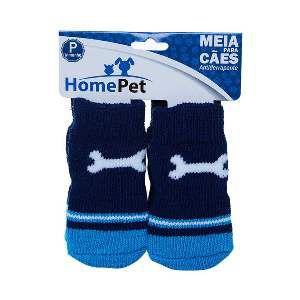 Meia poliester/algodao osso azul P - Home Pet - 7x0,9x8cm