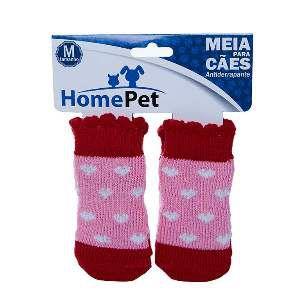 Meia poliester/algodao coracao rosa M - Home Pet - 8x0,9x9cm