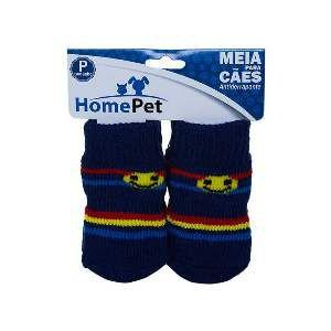 Meia poliester/algodao azul listrada P - Home Pet - 7x0,9x8cm