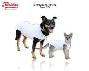 Roupa Pós-Cirúrgica para Cães e Gatos Nº 0 branca - Rayssas Pet - 26 cm