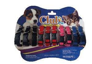 Coleira veludo com guizo - Club Pet Viva - Cartela com 10 unidades - 150-250x15x4mm