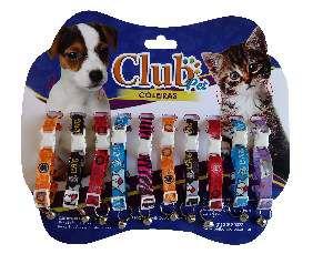 Coleira elastica com guizo - Club Pet Viva - Cartela com 10 unidades - 150-250x15x4mm