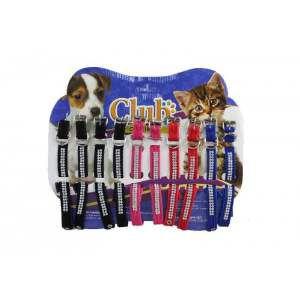 Coleira veludo com strass e fivela - Medio - Club Pet Viva - Cartela com 10 unidades - 340x15x4mm