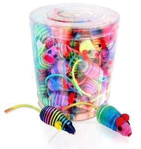Brinquedo poliester ratinho colorido - American Pet's - com 60 unidades - 8cm