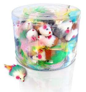 Brinquedo feltro ratinho com penas coloridas - American Pet's - com 60 unidades - 7cm