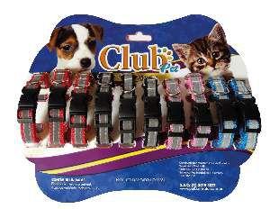 Coleira nylon refletiva com fecho - Medio - Club Pet Viva - Cartela com 10 unidades - 340x15x4mm