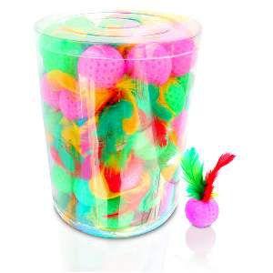 Brinquedo plastico bola com penas - American Pet's - com 60 bolinhas