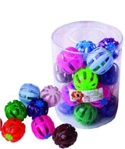 Brinquedo plastico bolinha com guizo - Savana - pote com 20 unidades - 13cm