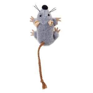 Brinquedo poliester/catnip ratinho corda cinza - Home Pet - 7x4x7cm