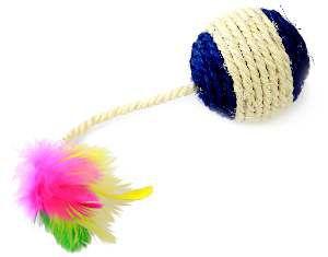 Brinquedo sisal bolinha com penas para gatos - Napi - 6,5cm