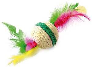 Brinquedo sisal bola com penas para gatos - Napi - 4,5 cm