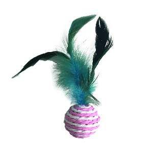Brinquedo bola sizal c/pena cores diversas - Home Pet - 5cm