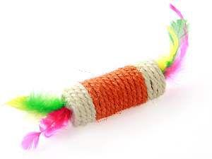Brinquedo sisal rolo com penas para gatos - Napi - 9,5x4,5 cm
