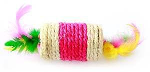 Brinquedo sisal rolinho com penas para gatos - Napi - 7,5x4 cm