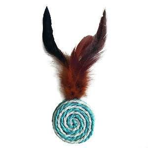 Brinquedo alvo sizal com pena cores diversas - Home Pet - 6cm