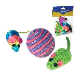 Brinquedo sisal kit bolinha e ratinhos - Chalesco - 10cm / 3cm