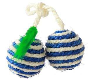 Brinquedo sisal 2 bolinhas com no para gatos - Napi
