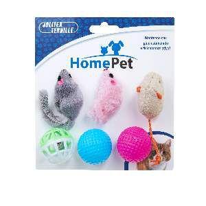Brinquedo plastico kit gatinho maluquinho 6un - Home Pet - 12x4x8cm
