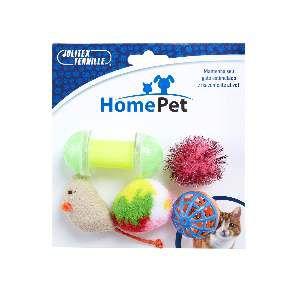 Brinquedo plastico kit gatinho animado 5un - Home Pet - 12x4x8cm