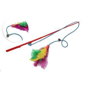 Brinquedo plastico varinha com penas e guizo para gatos - Napi - 32 cm