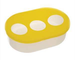 Comedouro plastico leitoso 3 furos grande - Alvorada - com 12 unidades - 17,5x11,5x5cm