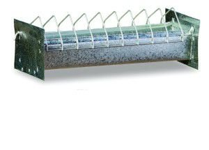 Comedouro arame e chapa de aco linear p/aves - Londrigaiolas - 50x10x10 cm