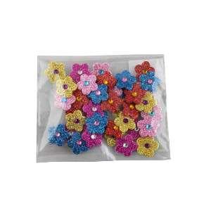 Adesivos aplicaveis flor com glitter P - Fernandes Laços - com 40 unidades