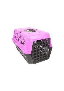 Caixa transporte plastica rosa N1 - Club Pet Alvorada - 45x30x27cm