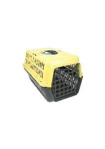 Caixa transporte plastica amarela N1 - Club Pet Alvorada - 45x30x27cm