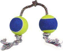 Brinquedo dental bone B com 2 bolas de tenis e corda - LCM - 460mm - bola revestida c/la e corda dup