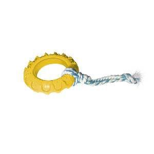 Brinquedo Pneu de Borracha Off Road com Corda Nº 3 - Furacão Pet - 12x12x3cm