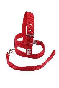 Conjunto peitoral e guia FBI com dupla regulagem - Vermelho - N7 - Club Pet Viva - 710x460x10mm