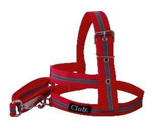 Conjunto peitoral e guia refletivo - Vermelho - Medio - Club Pet Viva - 700x190x10mm