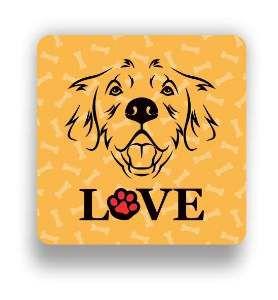 Ima love dog golden laranja - Tatuagem Mania - 8x8cm