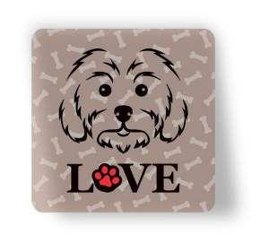 Ima love dog poodle marrom - Tatuagem Mania - 8x8cm