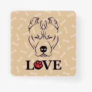 Ima love dog pitbull  - Tatuagem Mania - 8x8cm