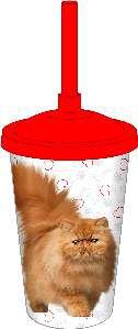 Copo plastico com tampa e canudo persa 750ml - Pet Toys - 10x14cm