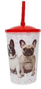 Copo plastico com tampa e canudo bulldog 750ml - Pet Toys - 10x14cm