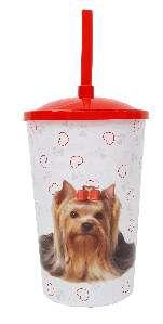 Copo plastico com tampa e canudo yorkshire 750ml - Pet Toys - 10x14cm