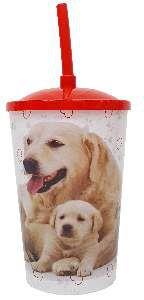 Copo plastico com tampa e canudo golden 750ml - Pet Toys - 10x14cm