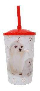 Copo plastico com tampa e canudo maltes 750ml - Pet Toys - 10x14cm