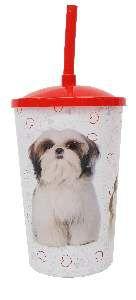 Copo plastico com tampa e canudo shitzu 750ml - Pet Toys - 10x14cm