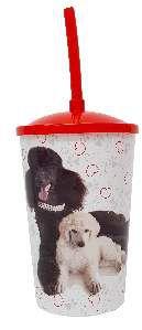 Copo plastico com tampa e canudo poodle 750ml - Pet Toys - 10x14cm