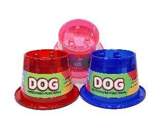 Comedouro plastico funcional lento antiformiga rosa 250ml - Pet Toys - 13x11,5cm