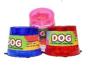 Comedouro plastico funcional lento vermelho glitter 250ml - Pet Toys - 13x11,5cm