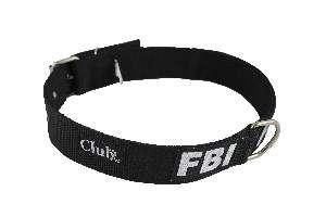 Coleira nylon FBI grande porte - Preto - N9 - Club Pet Viva - 700x40x7mm