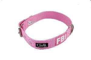 Coleira nylon FBI grande porte - Rosa - N7 - Club Pet Viva - 600x35x7mm