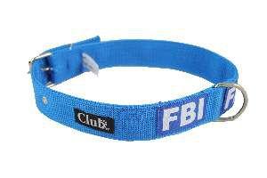Coleira nylon FBI grande porte - Azul - N7 - Club Pet Viva - 600x35x7mm
