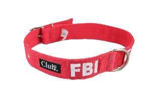 Coleira nylon FBI grande porte - Vermelho - N6 - Club Pet Viva - 550x30x7mm