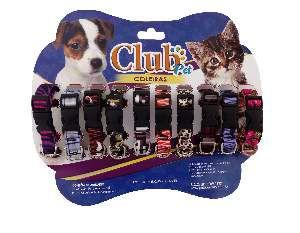 Coleira seda com fecho e pingente - Pequeno - Club Pet Viva - Cartela com 10 unidades - 20-30x15x4mm